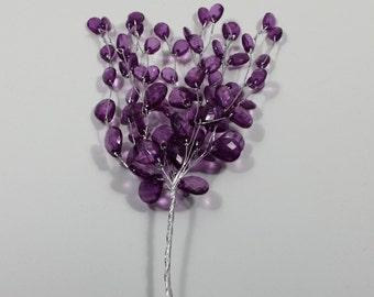 """Mini Acrylic Bead Spray with Wire Stem - Purple - 4"""" Spray"""