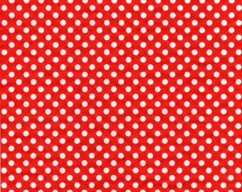 Red and White Polka Dot Fabric, Cotton Fabric, Quilting fabric, By The Yard