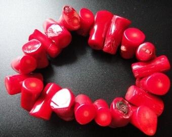Natural Red Coral Bracelet Stretch Bracelet 20-25mm Wide