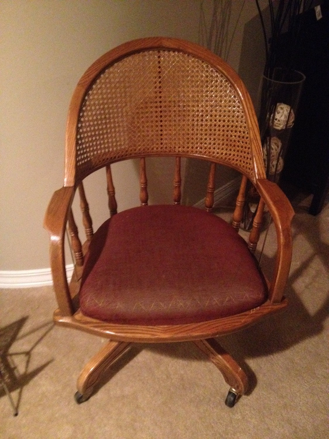Vintage Wood Antique Lawyers Library Office Swivel Cane