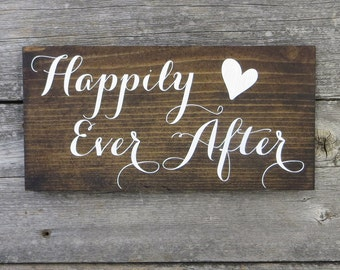 "Rustic Hand Painted ""Happily Ever After"" Wood Sign"