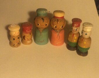 Wooden People Salt and Pepper Shakers