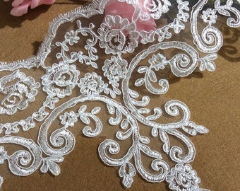 Stunning Lace Trim, Ivory Lace Trim, Floral Lace Fabric, Vintage Flower Lace Trim, 21cm Wide for Dress, Veilling,Costume,Craft Making 1 Yard