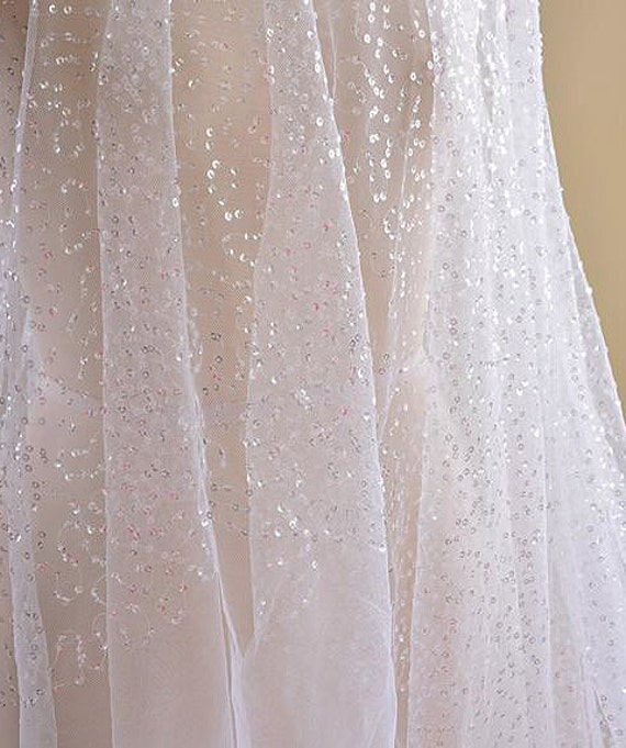 Fancy Sequined Lace White Mesh Bridal Sewing Fabric For Wedding Party Dress Tutu Veiling 55 Inches Wide 05 Yard