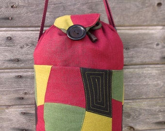 Linen girl kit bag women shoulder linen fabric  purse everyday handbag  patchwork quilt knitting tote