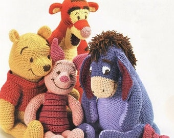 pdf winnie the pooh, tigger, piglet and eeyore crochet pattern