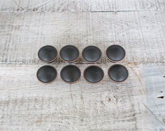 Drawer Pulls 8 Drawer Knobs Black Drawer Pulls Vintage Copper Highlights and Black Knobs Dresser Hardware 1990s Hardware Cabinet Knobs