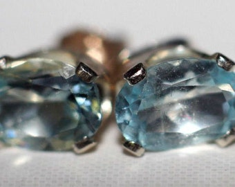 Handmade Sky Blue Topaz Earrings in Sterling Silver