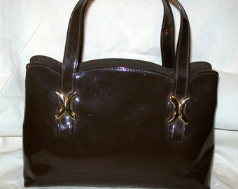 Purse Crown Lewis Brown Patent Leather