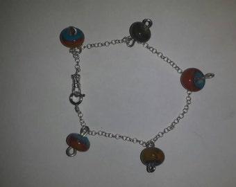 Lampwork charms bracelet