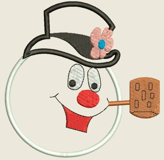 Snowman applique embroidery design by bdigidesigns etsy