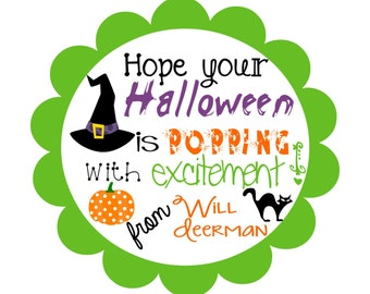 Personalized Halloween Treat Bag Tag for Popcorn