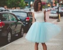 Tulle skirt, adult tutu, bridesmaid tulle skirt, aqua tulle skirt, adult tulle skirt, midi skirt, frozen tutu- custom any length