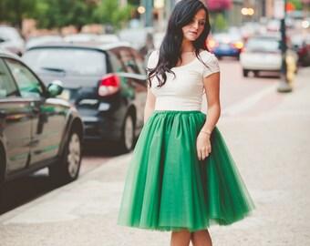 Tulle skirt, adult tutu, adult green tutu, womens tulle skirt, adult tulle skirt, any size-very full