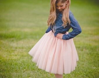 Flower girl tutu, long tulle skirt, light blush tutu, long tulle skirt ANY COLOR