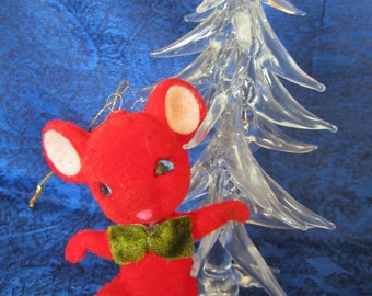 1950 Vintage Red Flocked Mouse made in Japan -appears in a red devil costume with a little horn protruding from its' forehead. Collectible.