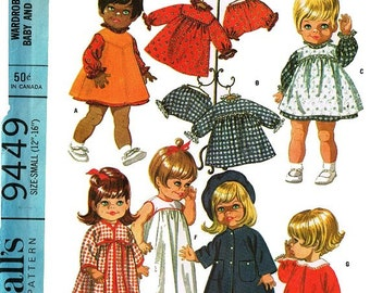 "Vintage Pattern for 12"" to 16"" Chubby Baby and Toddler Doll Clothes"