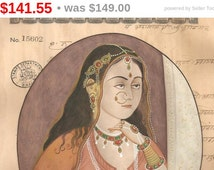 India Vintage and collectible miniature painting : Rani  on 100 Yrs Old paper stamp paper