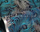 "Peacock feather silk fabric. Green silk brocade fabric. Chinese silk fabric. Blue silk brocade. Turquoise silk. Fabric Wholesale. 29""wide"