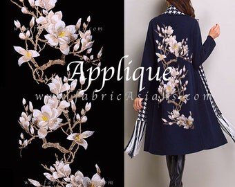 Floral embroidery. Cherry Blossom. Embroidery Applique. Floral Patch. One set per unit price. LA100033 beige