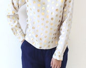 Linen Blouse Polka Dots Gold Foil Printed Tunic Casual Shirt Tops Long Sleeve