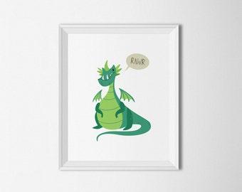 Green Dragon, dragon Wall art, dragon Nursery decor, green decor, Fantasy art, boys room, nursery art, dragon decor, dragon art print