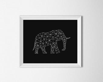Elephant Art, Origami Art, Digital, modern art, geometric elephant art, Black and white, Elephant wall art, elephant print, Wall prints