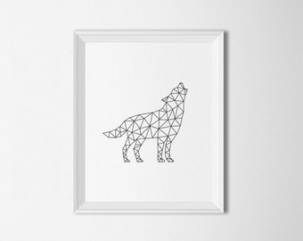 Items similar to Geometric art. Wolf home decor. Wolf ...