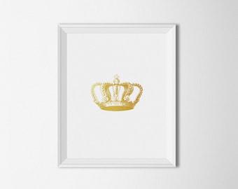 Gold Crown Art Print, Printable art, Crown Wall art, Gold Home decor, Glitter print, Minimalist Decor, Vintage Crown print, digital