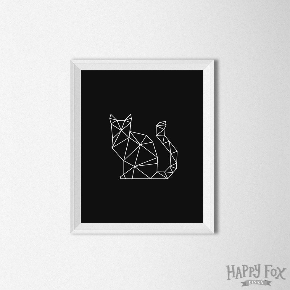 Cat Wall Art geometric cat art origami cat print digital minimalist