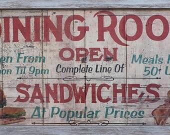 Vintage Style Diner Dining Room Menu Kitchen Primitive Home Decor Diner Sign