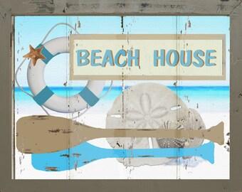 Vintage Style Nautical Beach House Ocean Anchor Oar Seashell Primitive Wall Art