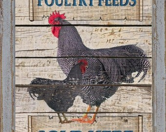 Personalized Primitive Rustic Farmhouse Country Kitchen Farm Ranch Home Decor Rooster Chicken Sign