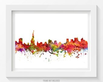 New York City Skyline Poster, New York City Art, New York City Decor, Cityscape, Home Decor, Gift Idea 08