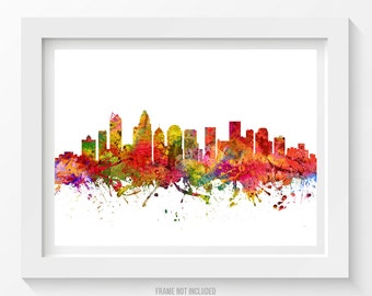 Charlotte North Carolina Poster, Charlotte Cityscape, Charlotte print, Charlotte Decor, Charlotte Art, Home Decor, Gift Idea 08