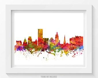 Providence Rhode Island Skyline Poster, Providence Cityscape. Providence Art, Providence Decor, Home Decor, Gift Idea 08