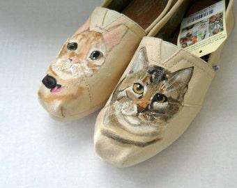 Pet Portrait Shoes Hand Painted TOMS Christmas Gift Wedding Flats Fur Family Wedding Shoes Cat Shoes Pet Shoes Pet Portrait Shoes Gift