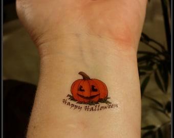 Halloween pumpkin fake tattoos temporary tattoos Halloween treat