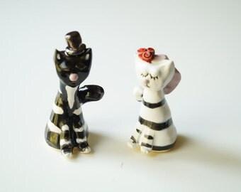 Cat Wedding Cake Topper, Striped Cat, White and Black Cat, Cat Cake Topper, Ceramics and Pottery