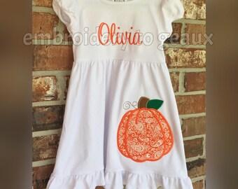 Girl's Pumpkin Dress, Toddler Girls Pumpkin Outfit, Pumpkin T-Shirt, Girls Pumpkin T-Shirt, Girls Fall Outfit, Pumpkin Patch Outfit