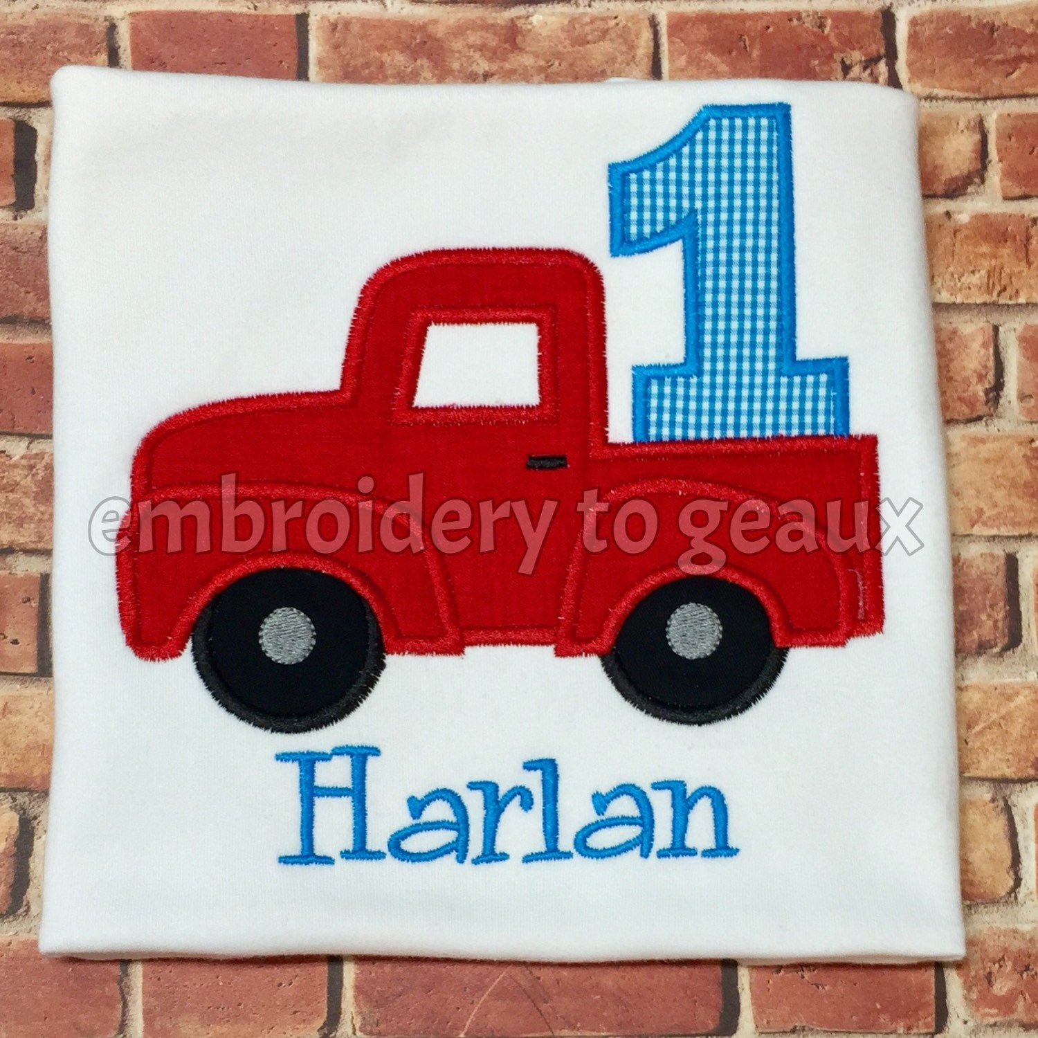 Red truck third birthday t shirt boys birthday shirt truck for Little blue truck fabric