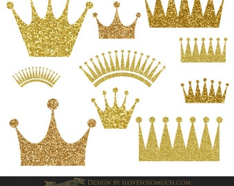 Gold Glitter Crowns Clip Art - Instant Download - CA027