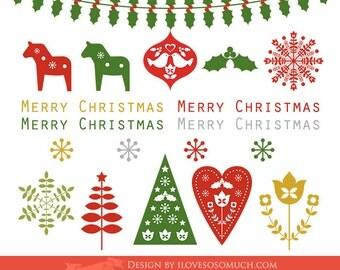 Scandinavian Christmas Clip Art - Instant Download - CA31