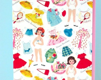 Paper Doll Vintage Style Greeting Card by writeables