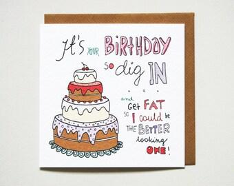 Funny birthday card friend rude birthday card cheeky