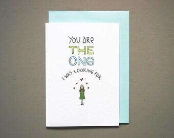 Valentines card boyfriend * valentine * Anniversary card * boyfriend love card * anniversary for him * the one * a6 size with blue envelope