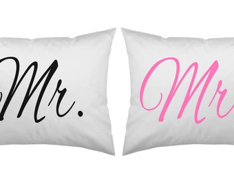 His and Her Pillowcase set, Mr. and Mrs. Pink