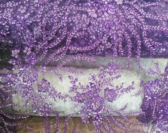 Glamorous bridal wedding beaded lace purple. Sold by the yard