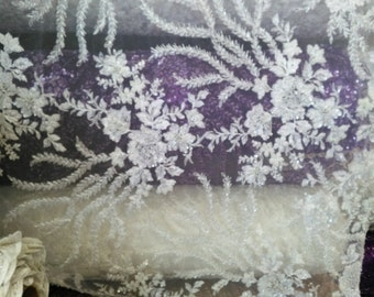 Glamorous bridal wedding beaded lace ivory. Sold by the yard