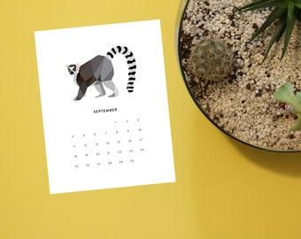 Printable - 2016 Geometric Animal Calendar - 8.5x11